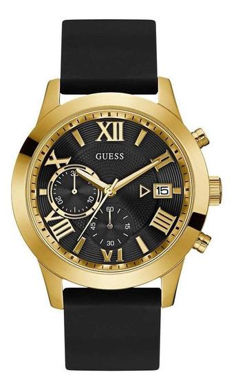 Reloj Guess Atlas Para Caballero Negro/oro-w1055g4