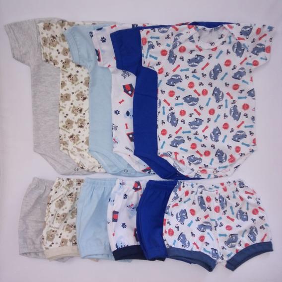Body M/curta+shorts/ Menino /kit 12 Peças/colorido+estampas/
