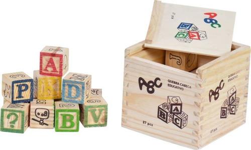 Blocos De Madeira Educativo Caixa 27 Pcs Wood Blocks