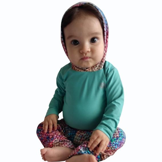 Conjunto Bebê Menina Com Proteção Solar Uv 50- 3 A 15 Meses