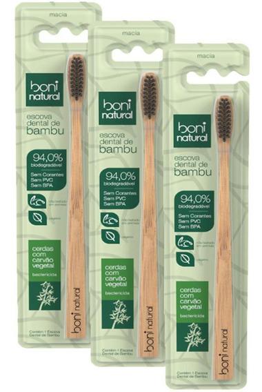 Kit Escova Dental De Bambú Boni Natural Com 3 Unidades