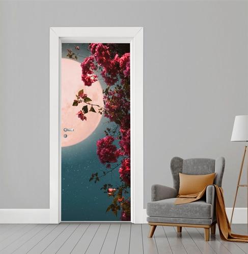 Adesivo Para Porta Madeira - Vidro Floral Lua Noite Paisagem