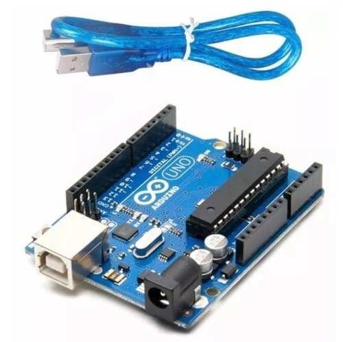 Arduino Uno Rev3 R3 Atmega328 Dip Com Cabo Usb