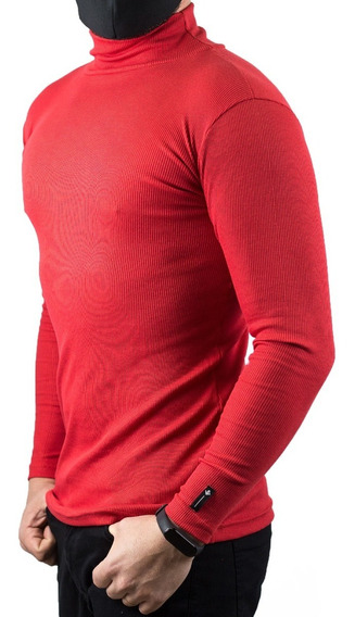 Cacharrel Blusa Tricot Lã Masculina Canelada Gola Alta