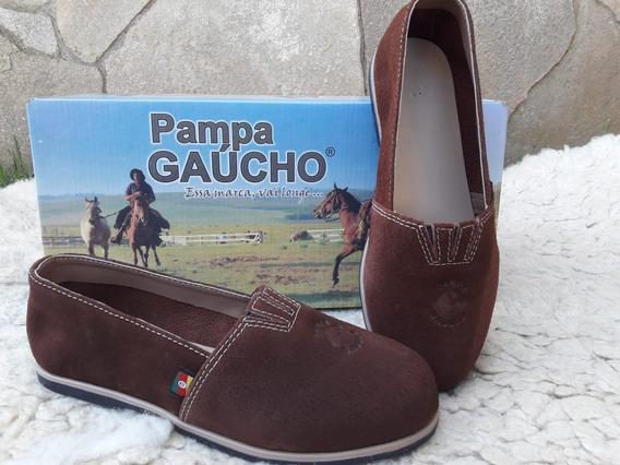 Alpargata Pampa Gaúcho Couro De Porco Castor Sem Faixa