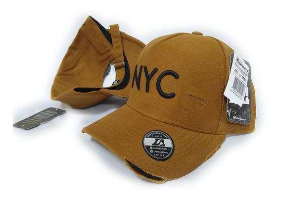 Boné Nyc New York City Ny Fitão Strap Rasgado Fivela Usa 13