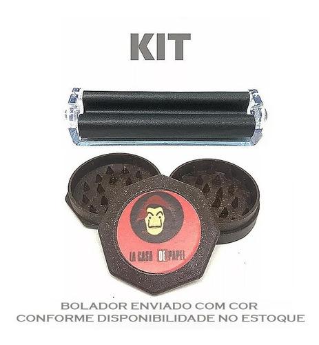 Kit Bolador 110 Mm King Size + Dichavador Coco 3 Partes Fumo
