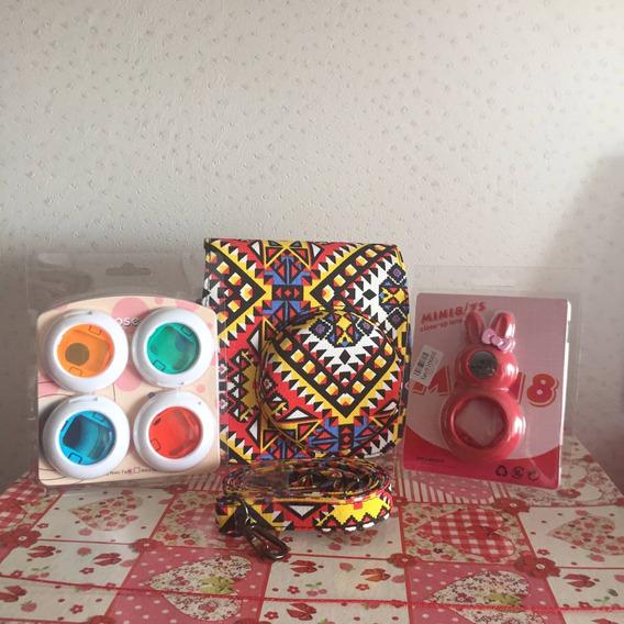 Kit Instax Mini 8 Estampada - Case, Lentes Coloridas, Selfie
