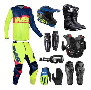 Kit Equipamento Completo Trilha Motocross Ims Light 19 Fluor