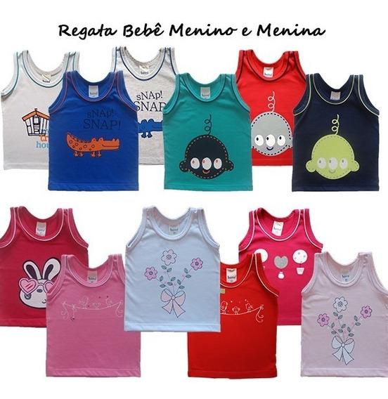 Camiseta Bebê Menino E Menina Regata 100% Algodão P - M - G