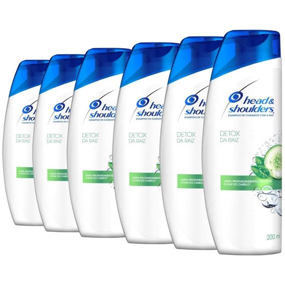 Kit Com 6 Shampoos Head & Shoulders Detox Da Raiz 200ml