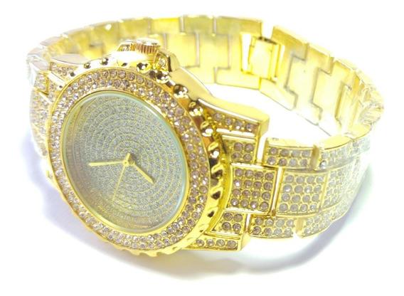 Relógio Unisex Geneva Model 4237 Gold Ouro Com Caixa