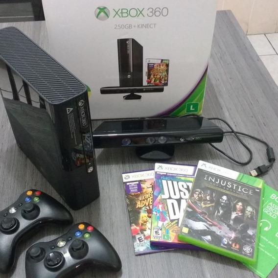 Xbox 360 + 200 Jogos + Controles + Kinect + Hd De 250gb