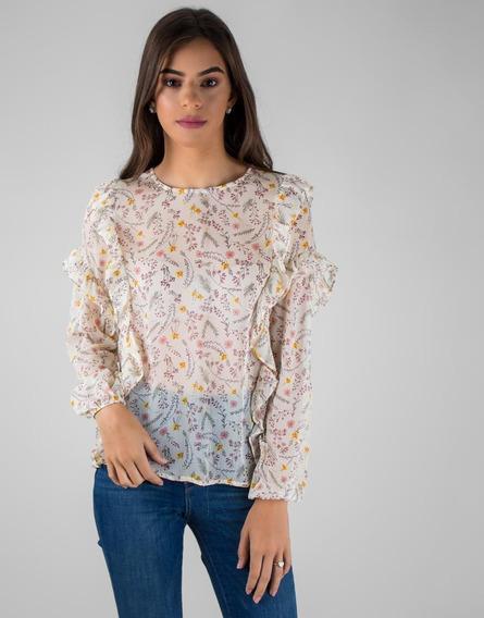 Blusa Marfil Floral Con Boleros