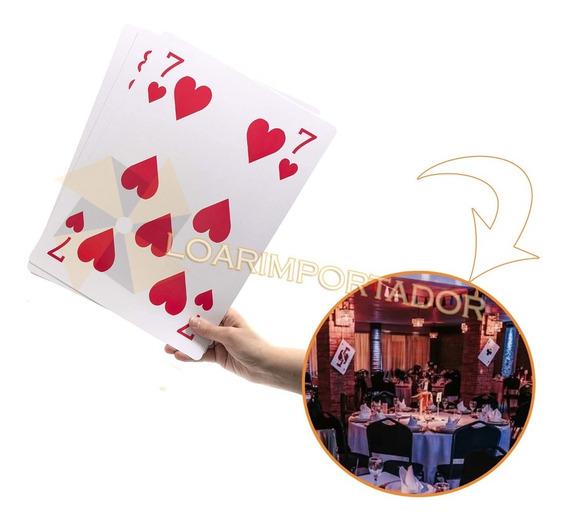 20 Naipes Cartas De Poker Extra Gigantes Alicia 30x40cm