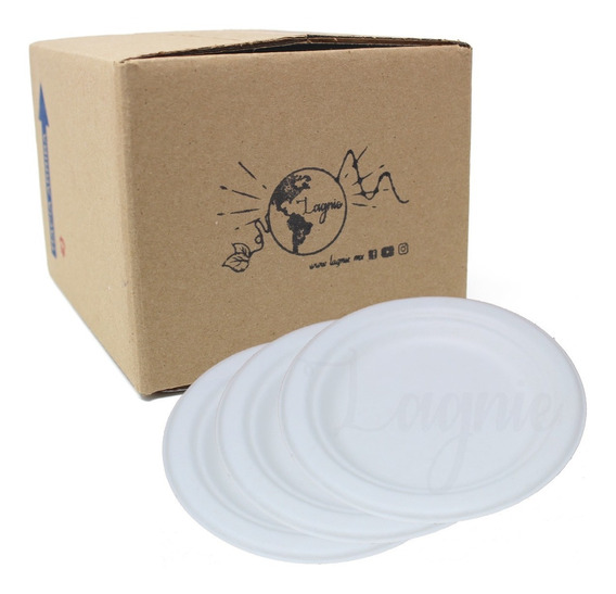 Lagnie 50 Platos Pasteleros Biodegradables Bagazo Caña 15 Cm