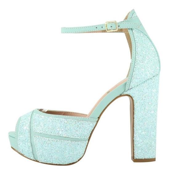 Sandália Salto Grosso Meia Pata 3d Week Shoes Tiffany