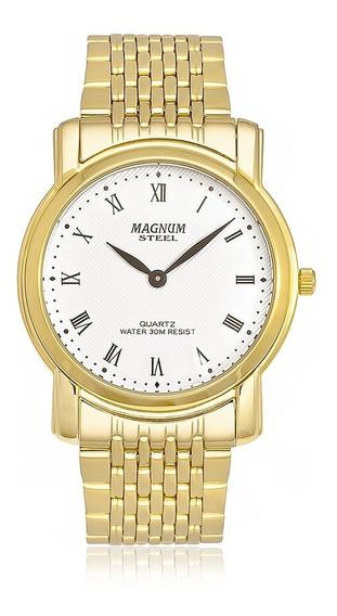 Relógio Magnum Masculino Slim Ma20367l Dourado Analogico
