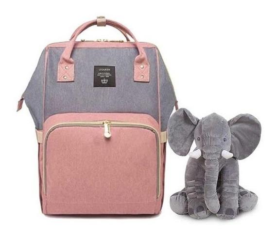 Bolsa Mochila Maternidade Lequeen Disney + Elefante Almofada