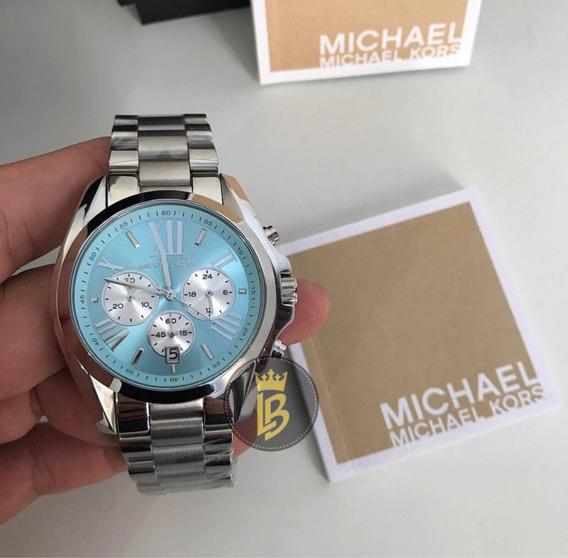 Relógio Prata E Azul Mk6099 Original Com Garantia