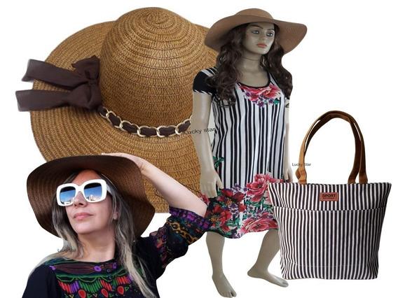 Saída Praia Vestido Floral Feminino + Chapéu + Bolsa Kit