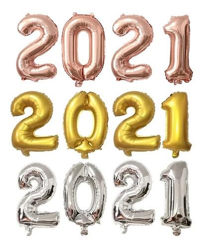 Globos Numero  2021 Año Nuevo 45cm.  Cotillon Chirimbolos