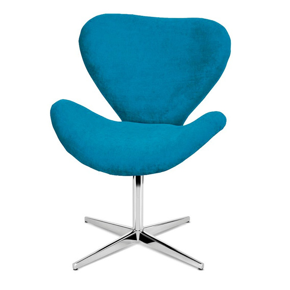 Poltrona Decorativa Swan Azul Turquesa - Giratória Nature