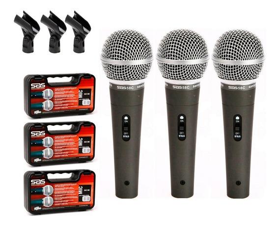 3 Microfones Santo Angelo Sas 58c Maleta Cachimbo Sm 58