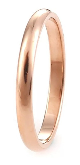 Anel Aço Inox Rosê 2mm Compromisso Noivado Casamento