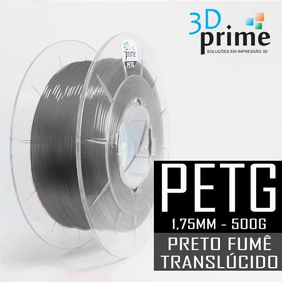 Filamento 3d Prime Petg Preto Fumê Translúcido 1,75mm 500g