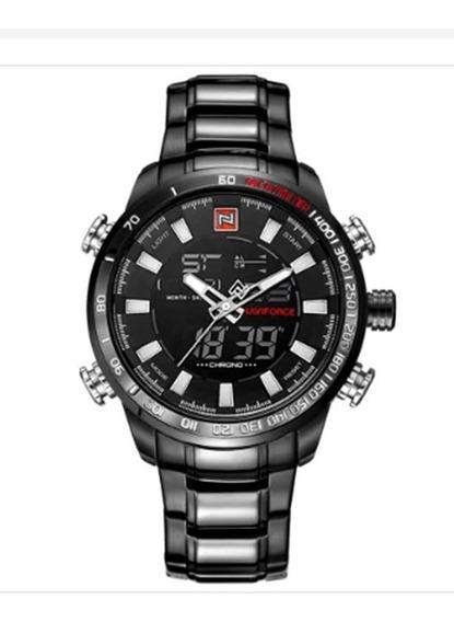 Relógio Masc. Naviforce 9093 Esportivo Preto Original Luxo