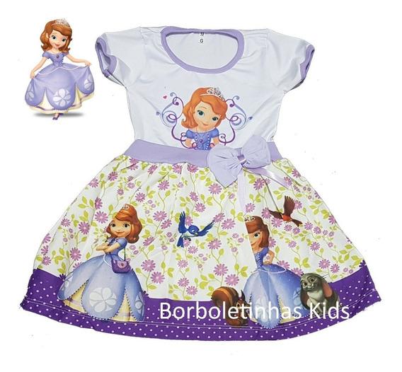 Vestido Infantil Princesinha Sofia Frente Única Ou Manga
