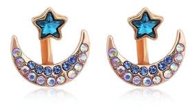 Brinco Ear Jacket Místico Cigana Estrela Lua Azul Cristal