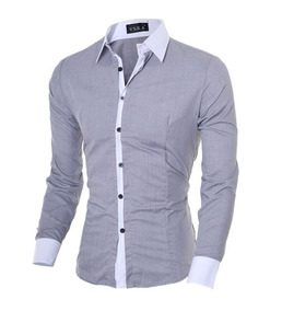 Camisa Social Casual Comprida Masculina Cinza Claro Promoção