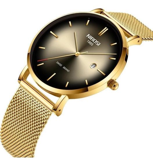 Relógio Nibosi Unissex Dourado E Preto 2362 Original 30m