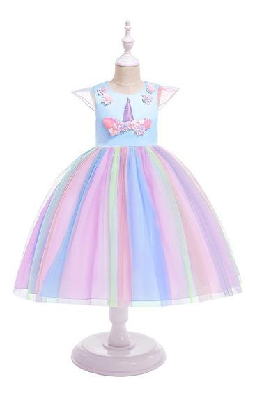 Vestido Unicornio C/ Tull Multicolor Cumpleaños Fiestas C056