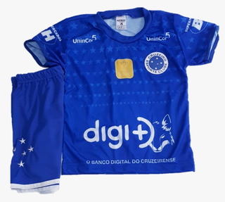 Kit Conjunto Infantil Uniforme Cruzeiro Futebol Criança 2019