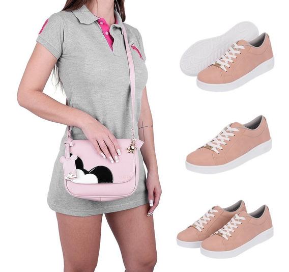 Kit Tenis Casual Feminino Flatform + Bolsa Mickey 4030
