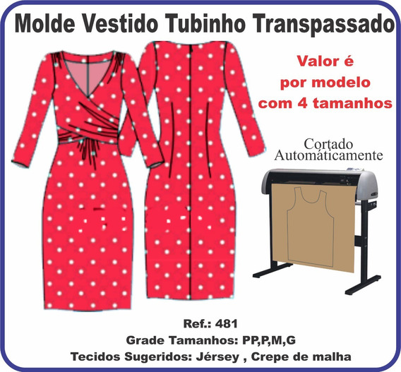 Molde Vestido Tubinho Transpassado 481