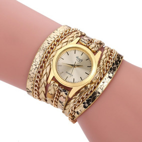 Relógio Feminino Dourado Barato Original Bracelete Couro