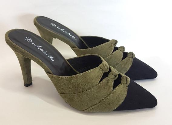 Sapato Feminino Scarpin Nobuck Salto Alto Bico Fino Fashion
