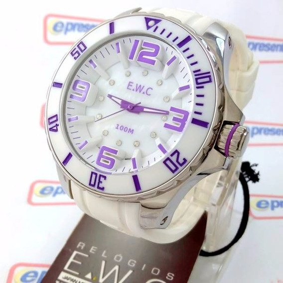 Relógio Feminino Extra Grande E.w.c Branco Lilas 48mm Wr100m