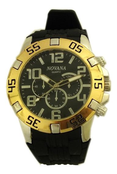 Relógio Pulso Masculino Novana Prata Dourado E Preto B5737