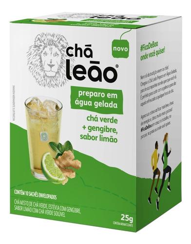 Imagem 1 de 1 de Chá Leão Água Gelada - Chá Verde Gengibre E Limão 10 Sachês