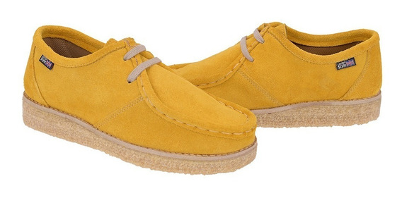 Sapatos Solado Crepe Camurça Yellow Stilo Vintage Cacareco