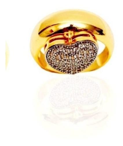 Anel Berloque Coração De Ouro 18k Mais Brilhantes At An54