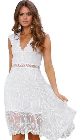 Vestido Blanco Encaje Mujer Novia Playa Fiesta
