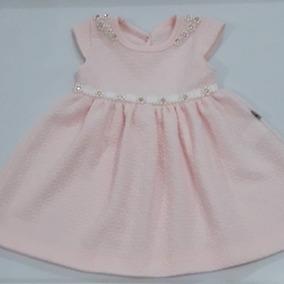 Vestido Bebe Fem Rosa Bordado Pérolas Kiki Xodó
