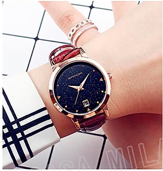 Relógio Importado Elegante Feminino Casual Couro Marrom