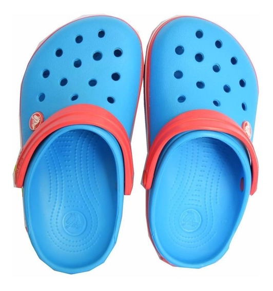 Crocs Crocband Kids Azul Con Tira Rojo Con Blanco